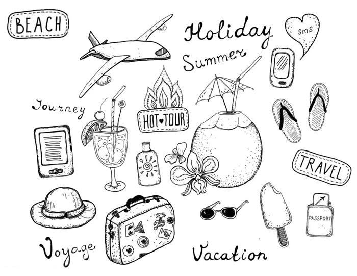 dessin vacances été voyage avion chapeau soleil cocktail aventure saison estival tongues crème glacée lunettes de soleil passeport illustration