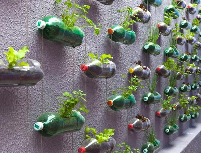 diy mur vegetal avec bouteilles en plastique bricolage materiaux recup activite manuelle decoration exterieure