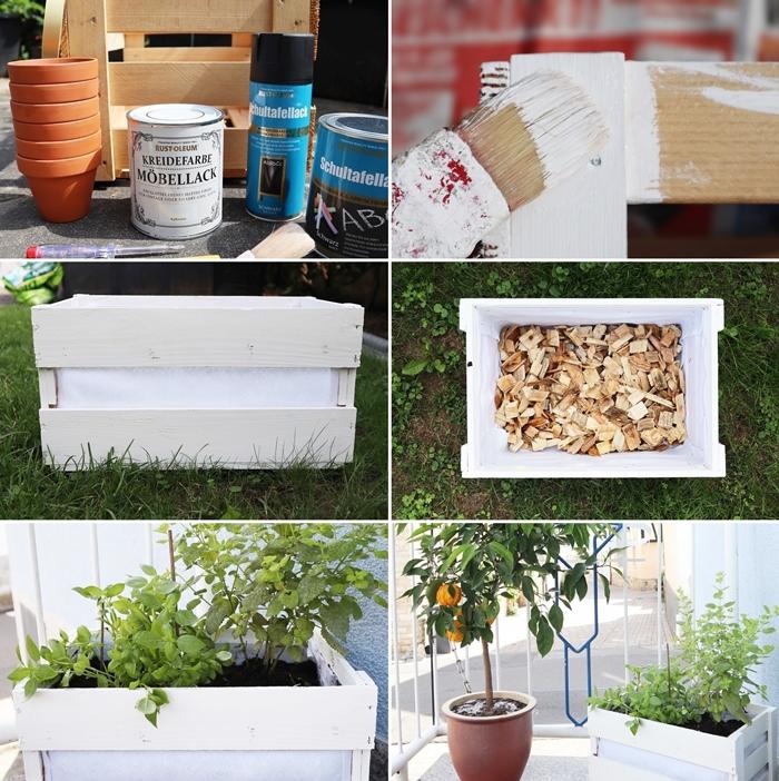 diy pot pour plante en materiaux de recuperation jardiniere en caissette bois decoration petit balcon activite manuelle bricolage