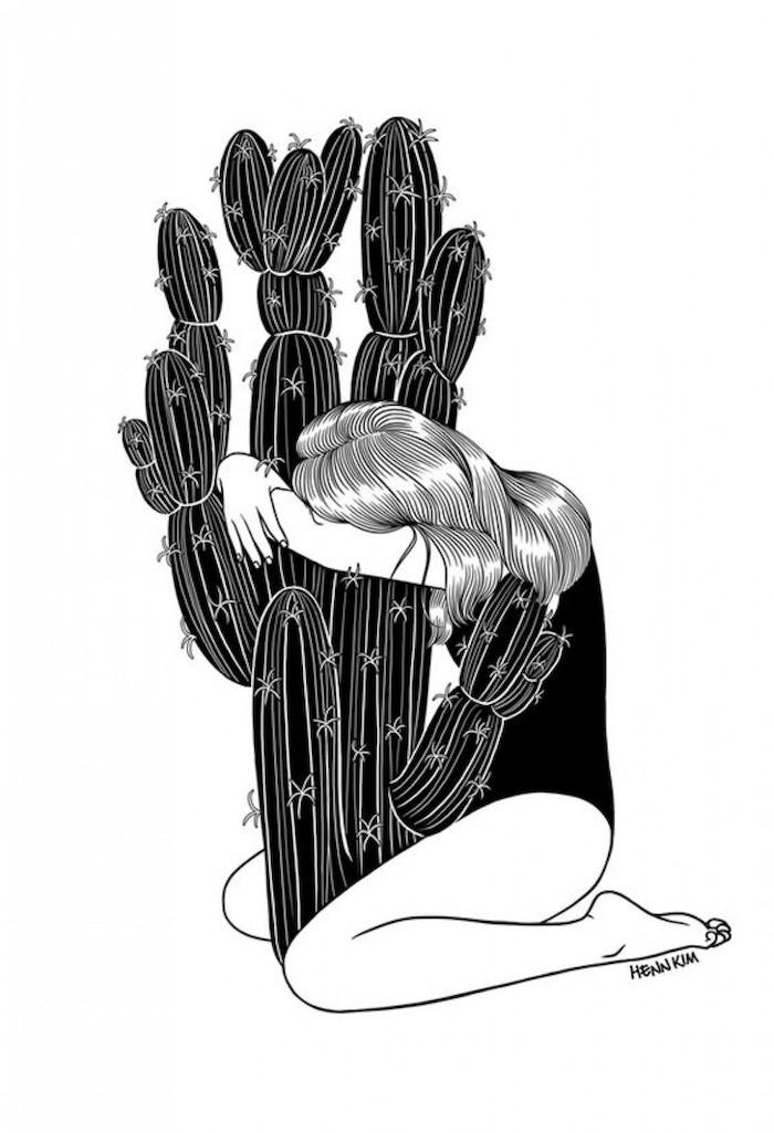 embrasse fille et cactus metaphore l amour qui donne de pein dessin fille noir et blanc swag dessins à faire soi meme relations a couper
