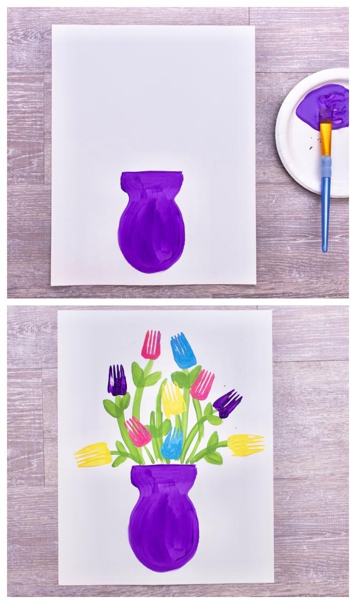exemple d art enfant original atelier peinture pour enfant idée vase de fleurs en peinture et empreintes colorées de fourchette