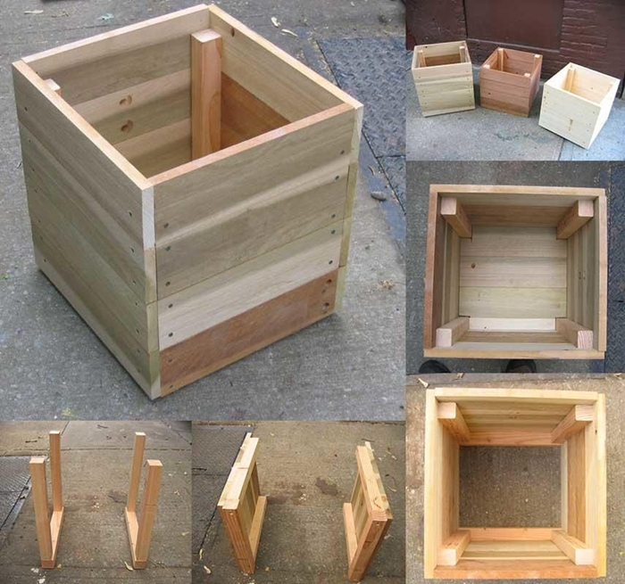 fabrication jardiniere haute avec planches de bois forme cube pot de fleur diy en bois idée bricolage décoration extérieure diy