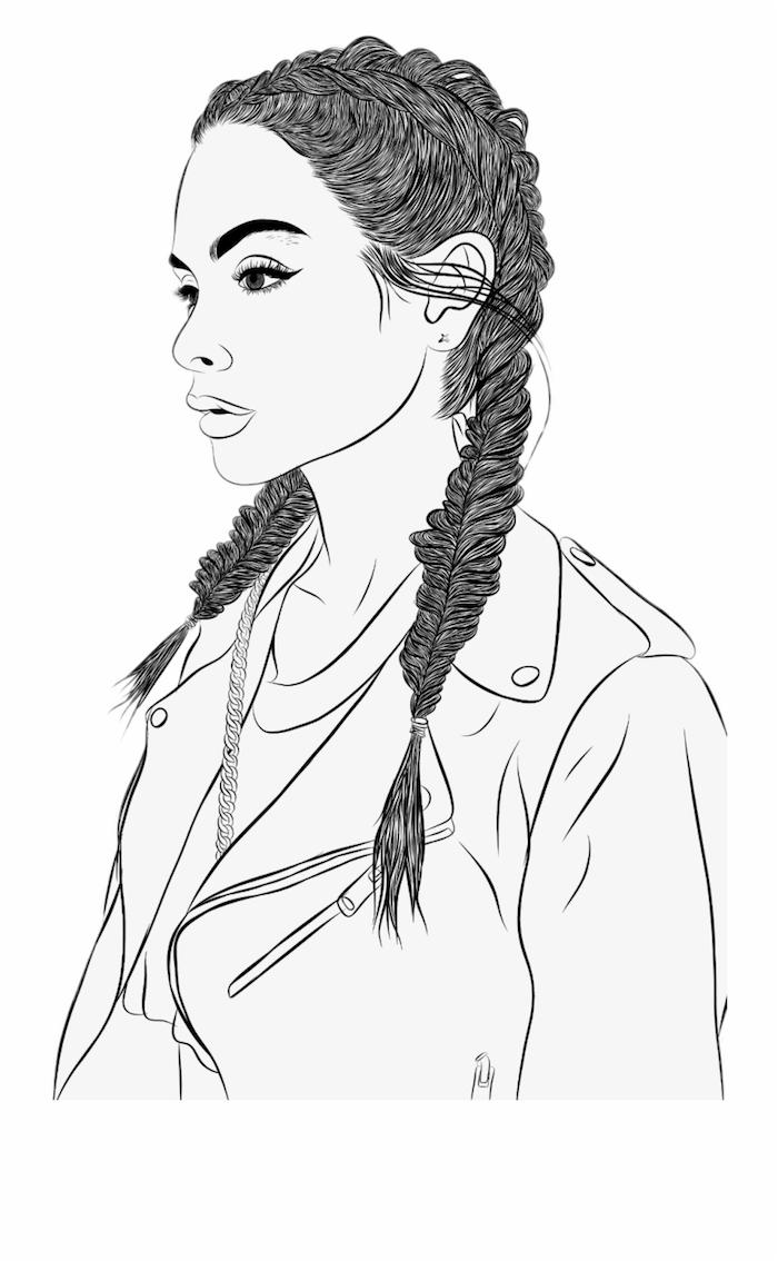 fille tumblr dessin les meilleures idées de dessins à faire fille avec cheveux en tresses