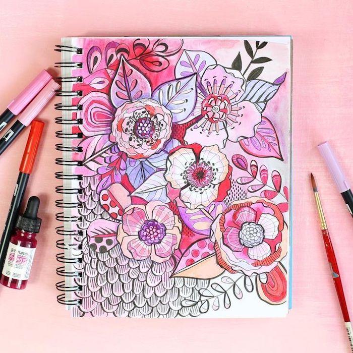 fleurs dessin coloré sur esquise cahier dessin tumblr comment faire un beau dessin pour débutant