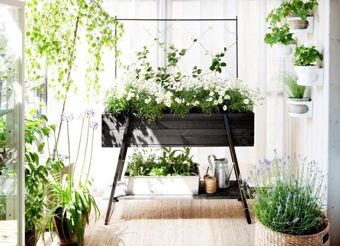 grand pot de fleur exterieur décoration blanche terrasse ou balcon design extérieur cache pot tressé lavande pot de fleur béton suspendu