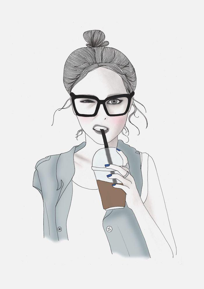 gris dessins chignon haut dessin fille avec son café a emprunter lunettes de soleil fille tumblr dessin les meilleures idées de dessins à faire