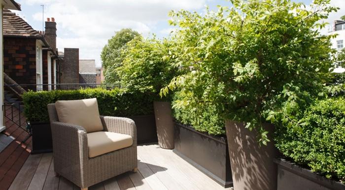 haie de jardin aménagement petite terrasse bois mur végétal cache vue vis à vis gros pots fleurs jardinière balcon arbustes