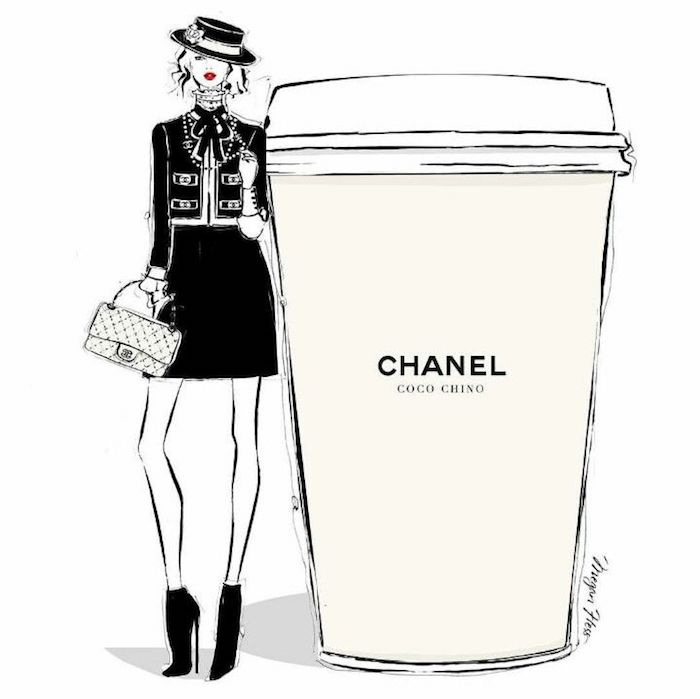 idée chanel tasse transportable femme en costume chanel dessin fille swag dessiner une fille tumblr inspiration image