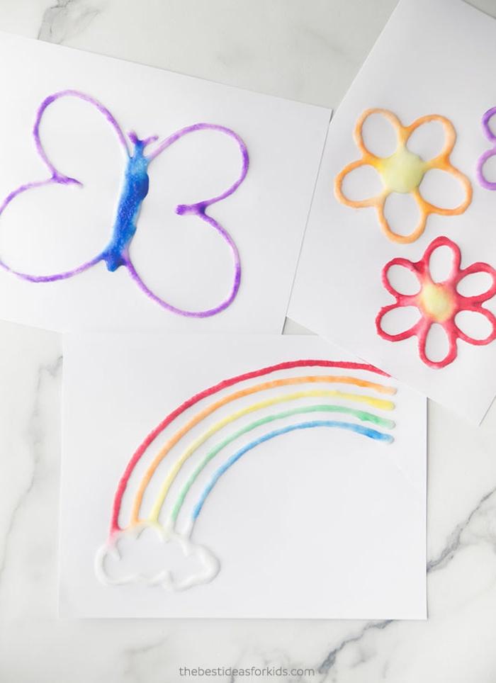 idée peinture au seil peinture facile a faire bricolage enfant maternelle avec gros sel et peinture