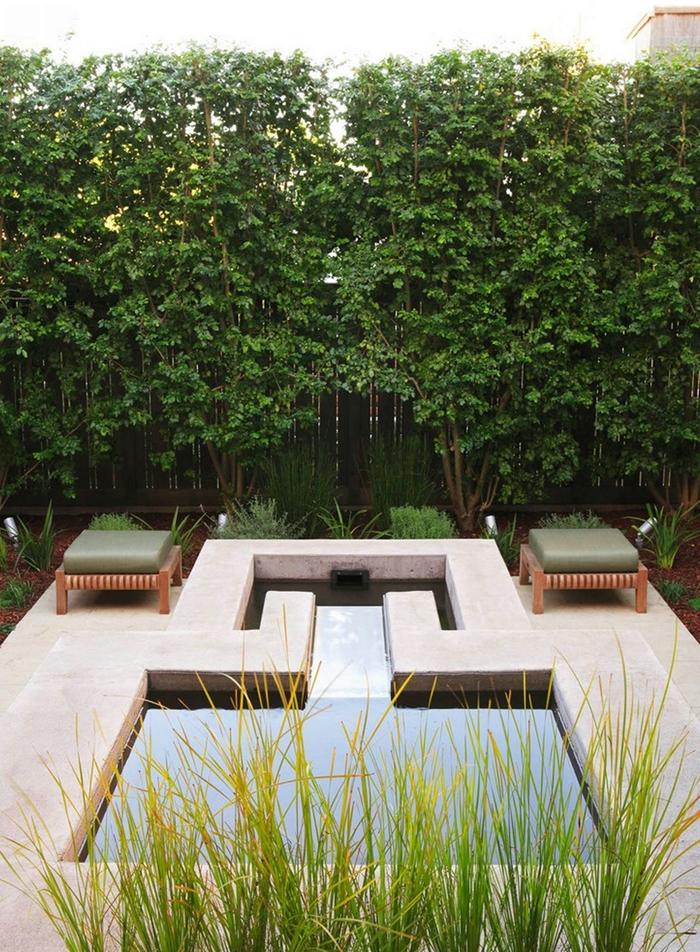 idee brise vue vegetal aménagement cour arrière avec piscine meubles extérieur en bois arbustes cache vue arbres arbustes