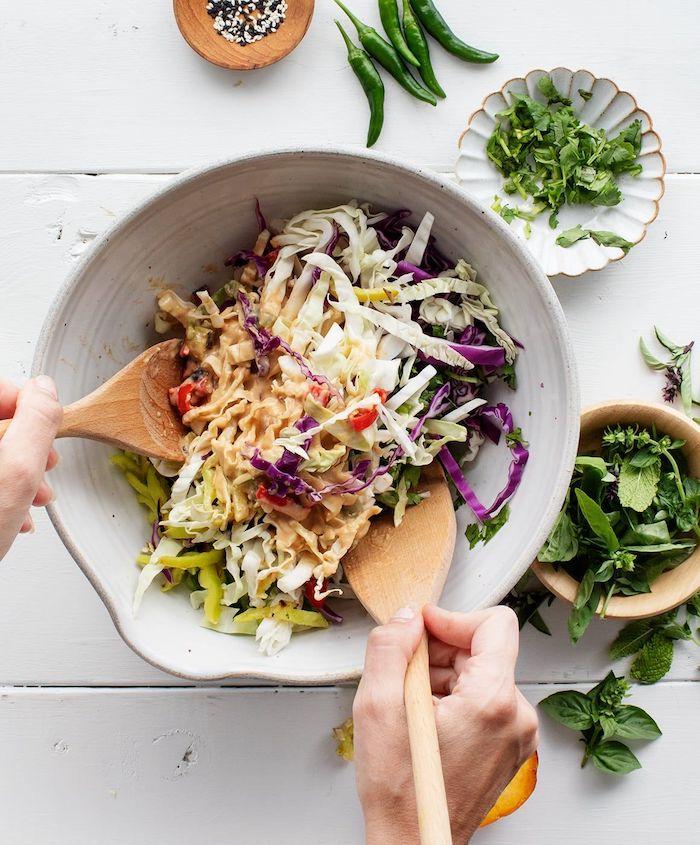 idee salade ete de coux variées à l asiatique exemple de recette fraicheur simple et rapide