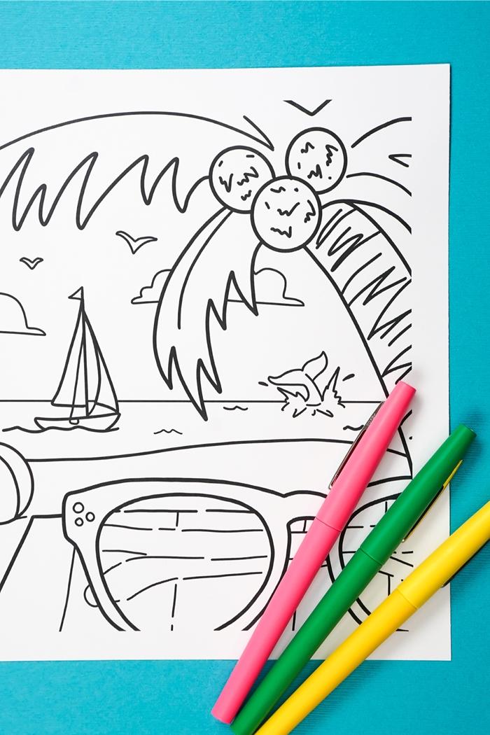 illustration vacances repos bord de mer plage vague océan poisson oiseaux bateau nuages dessin facile a imprimer palmier île exotique