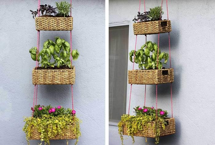 jardinière suspendue fabrication bricolage facile idée décoration balcon ou terrasse avec matériaux de récupération pot fleur en panier végétal