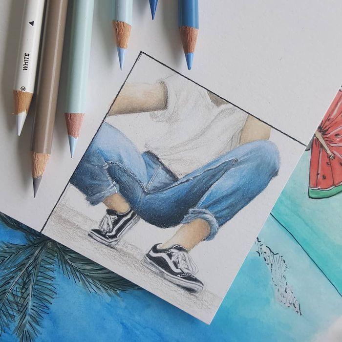 jean et t shirt vans selfie en miroir dessin inspiré par les filles de tumblr dessin facile a faire pour debutant fille tumblr dessin simple