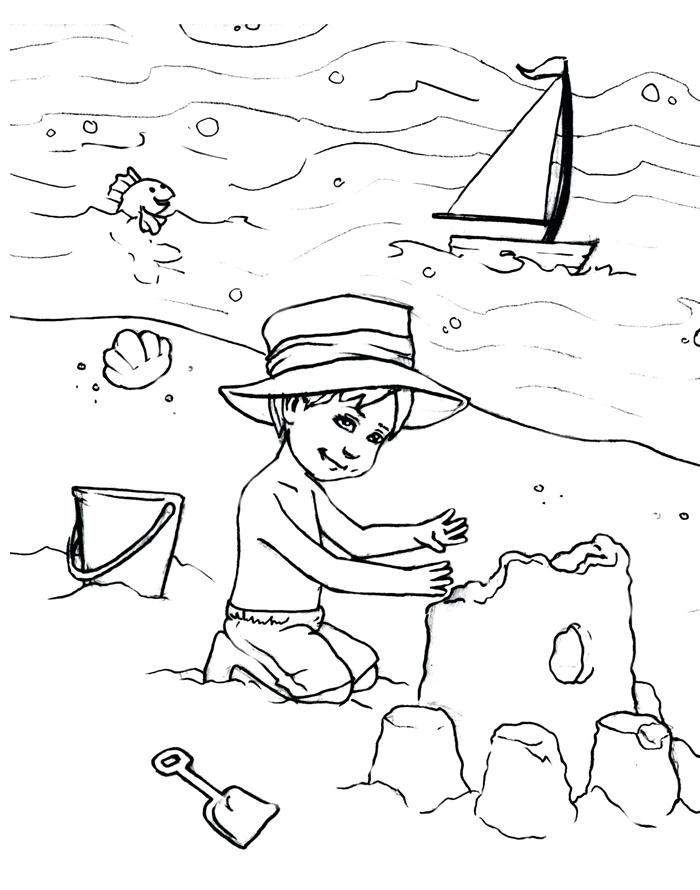 jeux enfant plage vacances d été illustration bateau mer poisson jouets de sable seau platique chateau sable dessin facile pour enfant