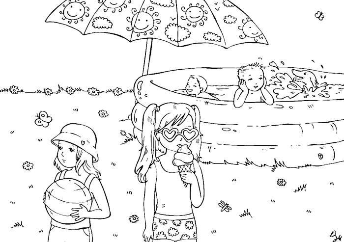 jeux enfants sur plage parasol motifs soleil coloriage maternelle petite fille maillot lunettes de soleil forme coeur chapeau plage