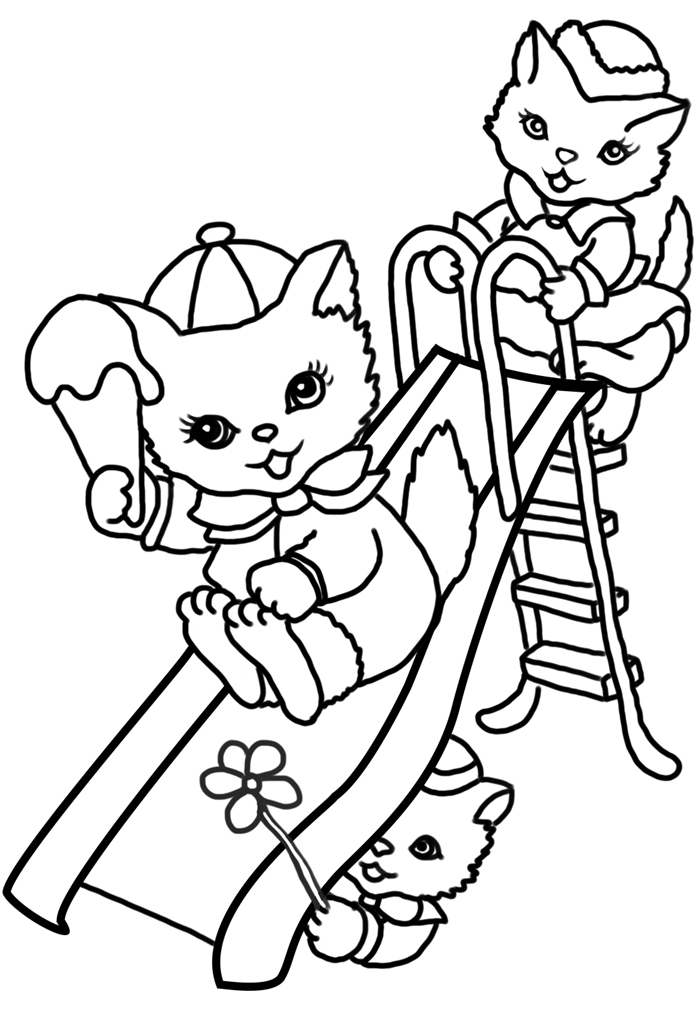 jeux loisir art thérapie coloriage facile pour petit dessin pour enfant animaux chats fleurs crème glacée vacances été sourire