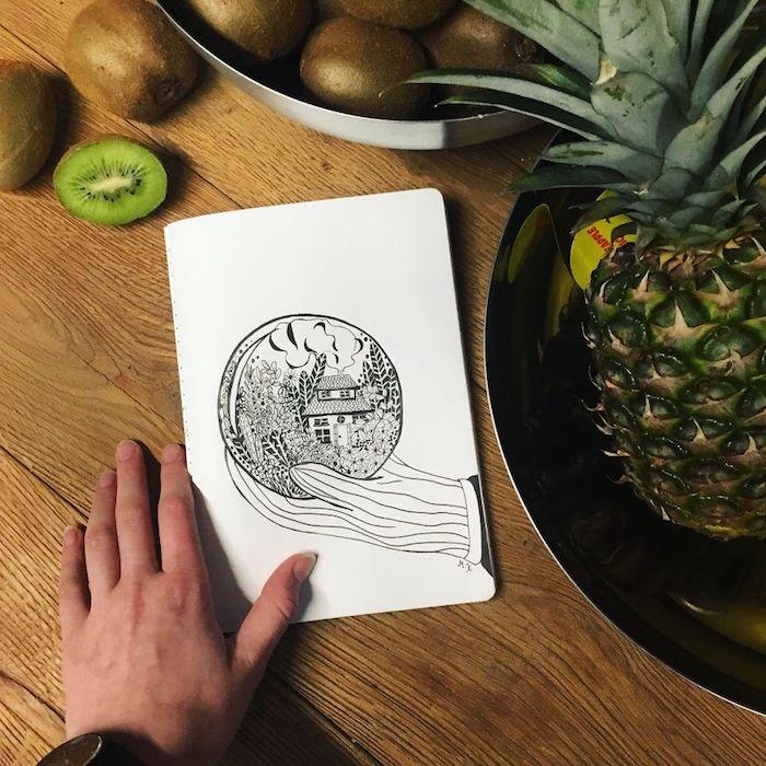 jolie image de cercle avec maison et fleurs dedans comment dessiner une fille kawaii photo de dessin tumblr