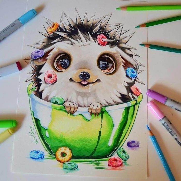 kawaii dessin adorable herisson dessin fille swag apprendre a dessiner comment dessiner un animal mignon dans un bol