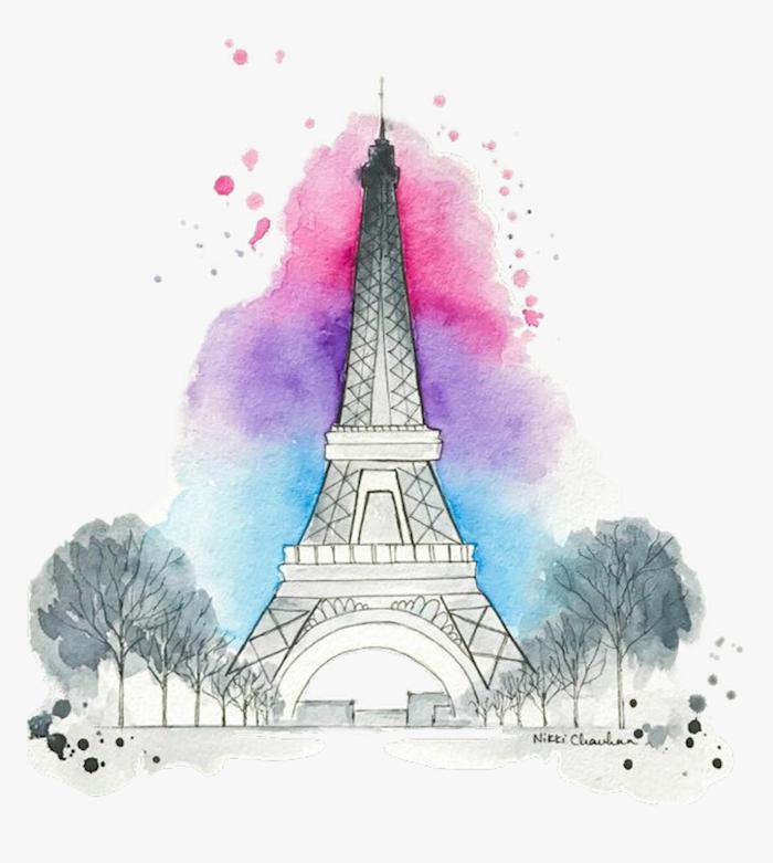 la tour eiffel magique aquarelle effet dessin fille de dos les plus beaux dessins tumblr faciles