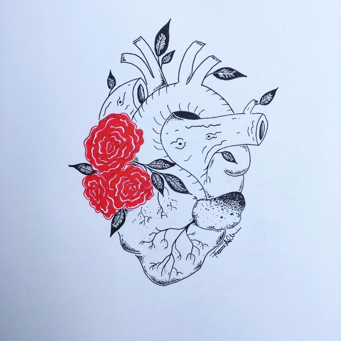 le coeur qui fleurisse dessin fille swag dessiner une fille tumblr inspiration image chouette idée anatomique coeur