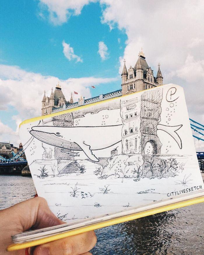 londres dessin imaginé du monde réel tower brigne dessin d une fille inspiration que dessiner au style tumblr dans la riviere
