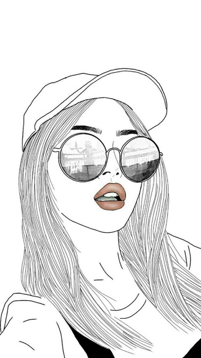 lunettes de soleil ronds dessin fille de dos les plus beaux dessins tumblr faciles les filles de tumblr dessin