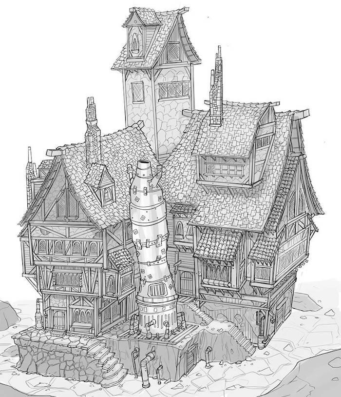maison magique monde fantastique dessin fille noir et blanc swag dessins à faire soi meme