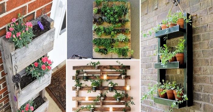 mur végétal diy avec matériaux de récupération rangement mural fait maison planches bois jardinière pour balcon palettes