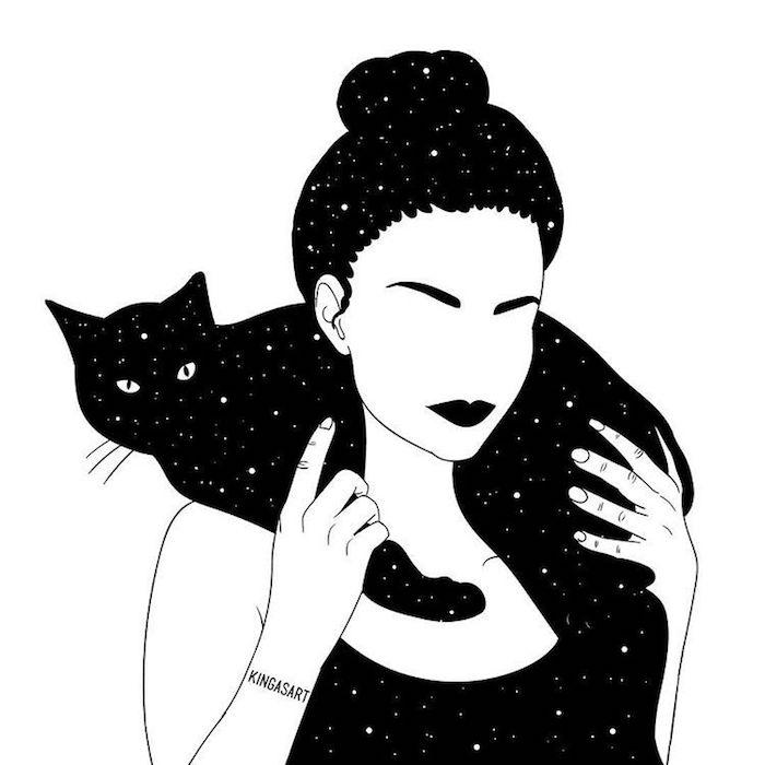 noir et blanc dessin de fille et son chaton noir universe peinture dessin facile fille essayer à recréer un dessin tumblr simple