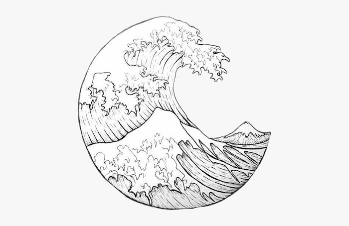 onde dessin dans cercle beau graphite dessin dessin facile à dessiner dessin fille swag choisir son style de dessin vague