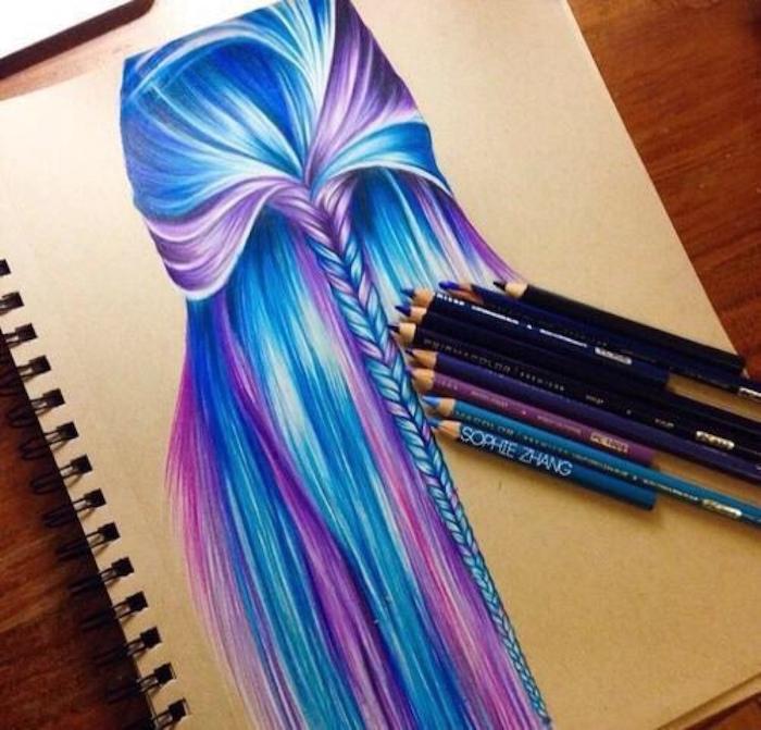 origianle idee comment dessiner une fille inspiration dessin tumblr a copier cheveux longs violet et bleu tresse au milieu
