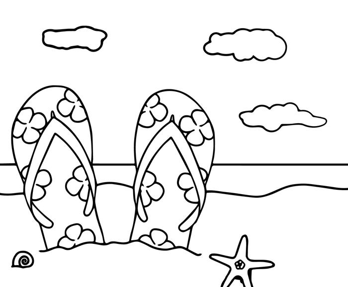 paire de tongues motifs été accessoire plage vacances au bord de mer repos bain soleil nuage mer vagues dessin a dessiner