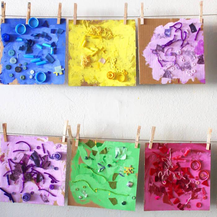 paneau artistique idée activité manuelle maternelle avec de la peinture et des objets de la vie courant art enfant projet activité créative