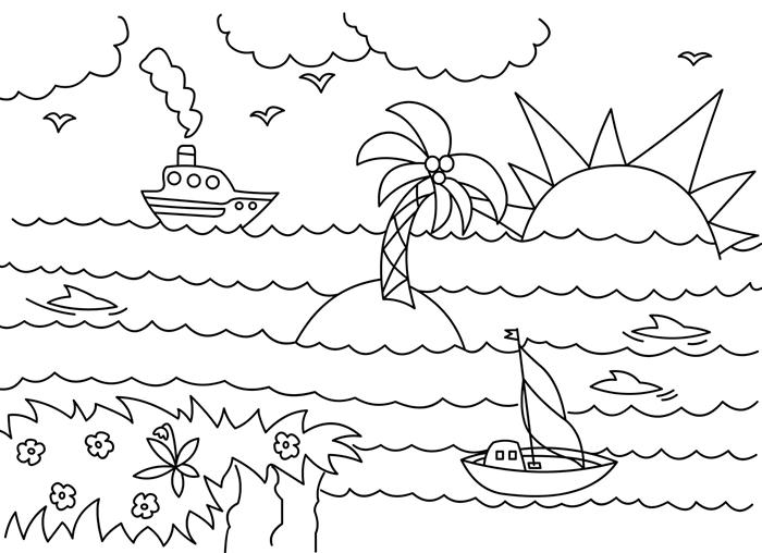 paysage nature bord de mer plage bateau palmier île soleil fleurs nuage oiseaux coloriage été maternelle vacances poissons