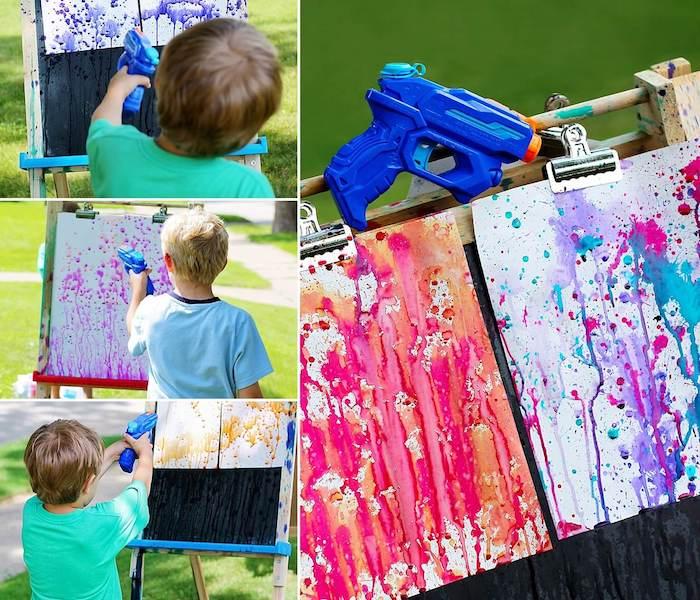 peintire pour enfant idée activité manuelle été jeu en plein air pour enfant peinture abstrait pistolet à eau
