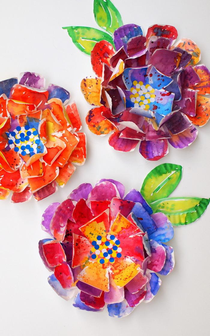peinture facile a faire pour enfant bricolage pour tout petit en assiette de papier colorée de peinture aquarelle de couleurs variées activité manuelle 3 5 ans
