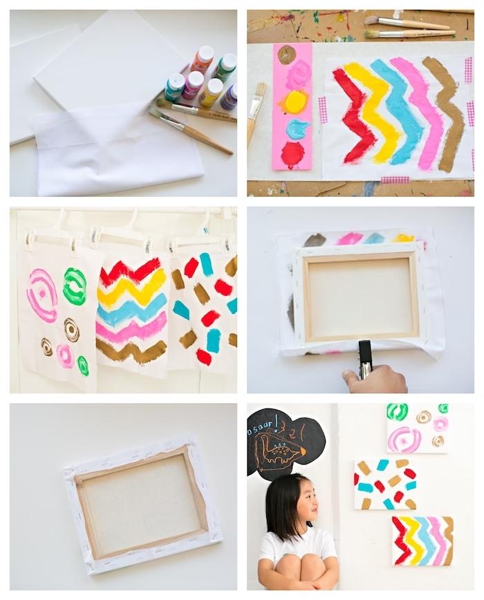 peinture intuitive activité manuelle primaire paneau de peinture abstraite enfant deco murale art enfant original