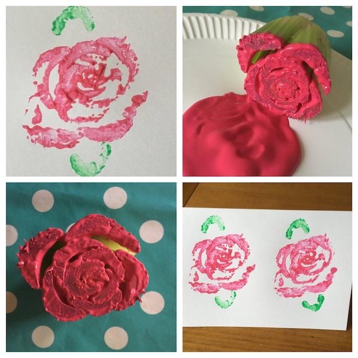 peinture maternelle avec céleri empreinte de celeri de couleur peinture rouge sur bout de feuille blanc comment dessiner une rose