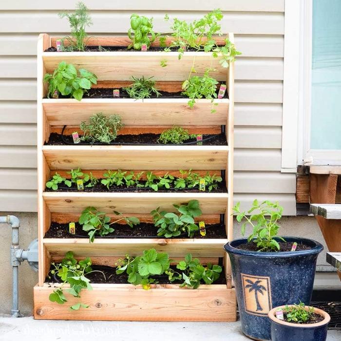 pot pour plante bleu foncé idée rangement vertical pour plantes ou herbes balcon diy jardinière en planches de bois bricolage facile