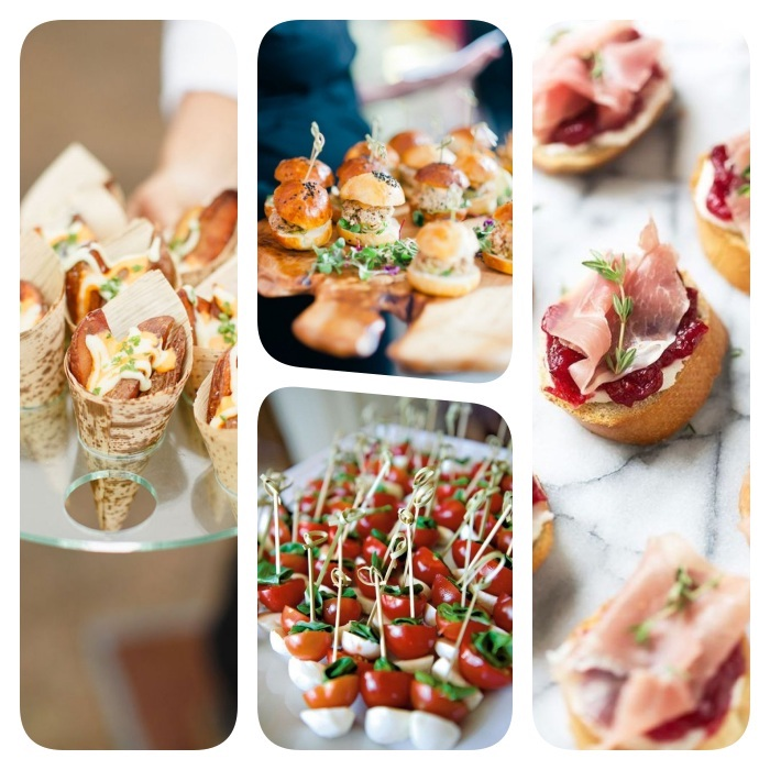 quelques exemples pour votre buffet froid original mini hamburger brochette tomate mozzarella frites de paate deouce bruschetta