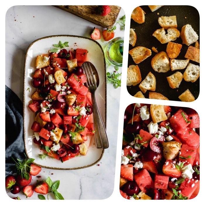 recette entrée froide salade de pasteque avec cerises fraises et miettes de feta avec dressing frais et ciabatta cubes de pain