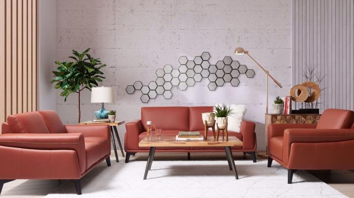 revêtement mural art meubles cuir plante verte d intérieur lampe sur pied blanche canapé terracotta en cuir table bois et métal lampe rose gold