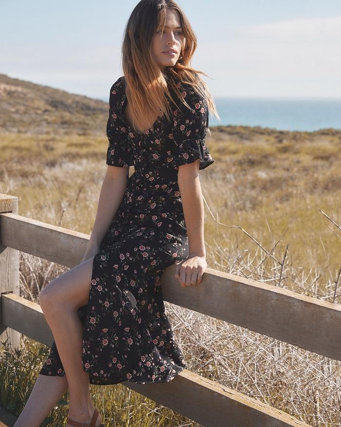 robe boheme longue tenue femme été robe fluide fendue robe noire à motifs fleuris décolleté e v boutonné manches courtes
