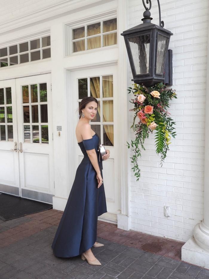 robe de cérémonie femme chic chaussures nude robe élégante pour mariage officiel femme invitée classe robe longue col bateau pochette métalisée