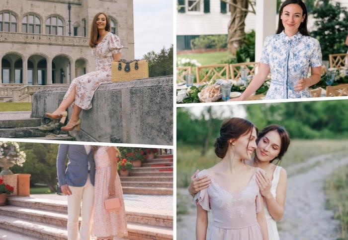 robe mariage champêtre couleurs robe longueur cheville motifs floraux sandales talons coiffure mariage invitée bohème