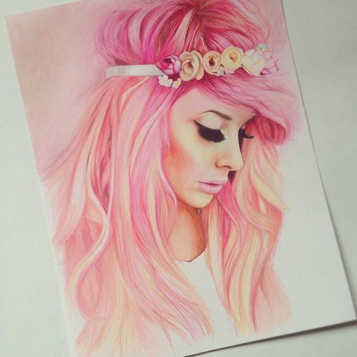 rose cheveux dessin fille noir et blanc swag dessins à faire soi meme couronne de fleurs sur cheveux longs fille