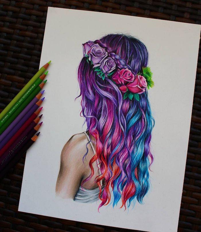roses en couronne de fleurs cheveux colorés en rose et bleu dessin fille swag apprendre a dessiner comment dessiner une fille