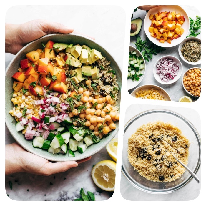 salades composées originales entrées froides couscous aux cerises séchées pois chiches concombres mais pêches avocat