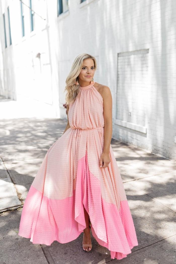 sandales talons nude robe de ceremonie longue coupe asymétrique robe col montant couleur rose ombré boucles d oreilles pendentifs